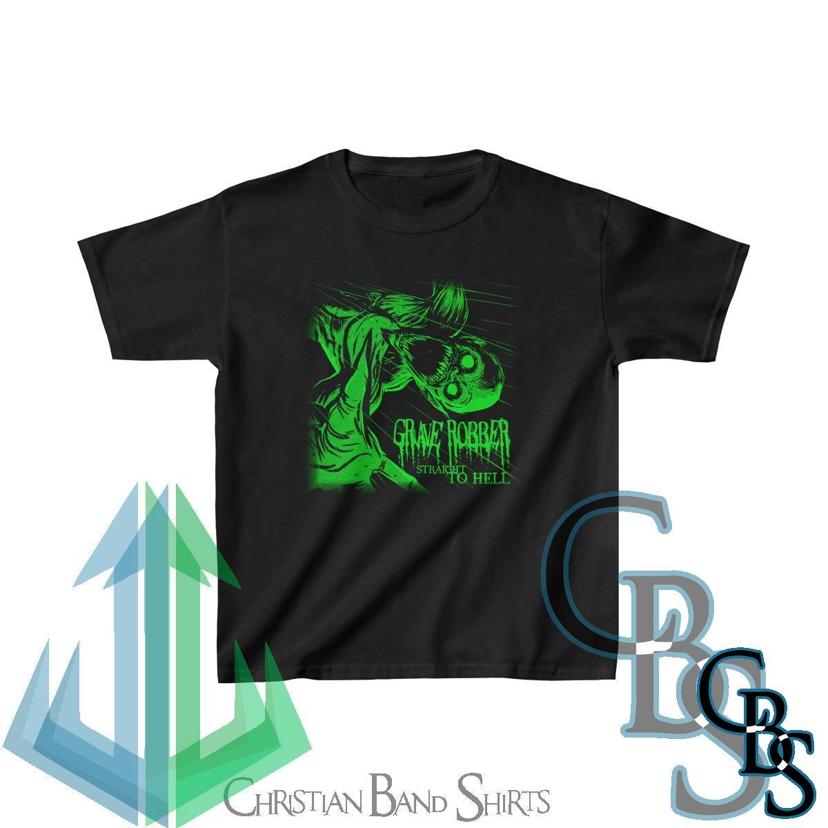 Grave Robber – Straight to Hell (Green) Kids Tshirt
