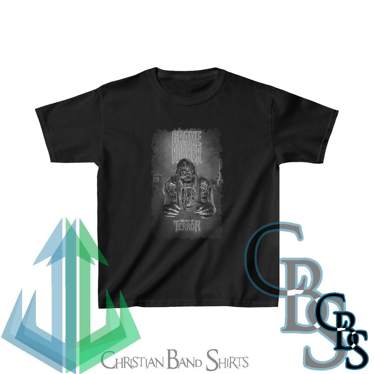 Grave Robber – Trilogy of Terror (Black and White) Kids Tshirt