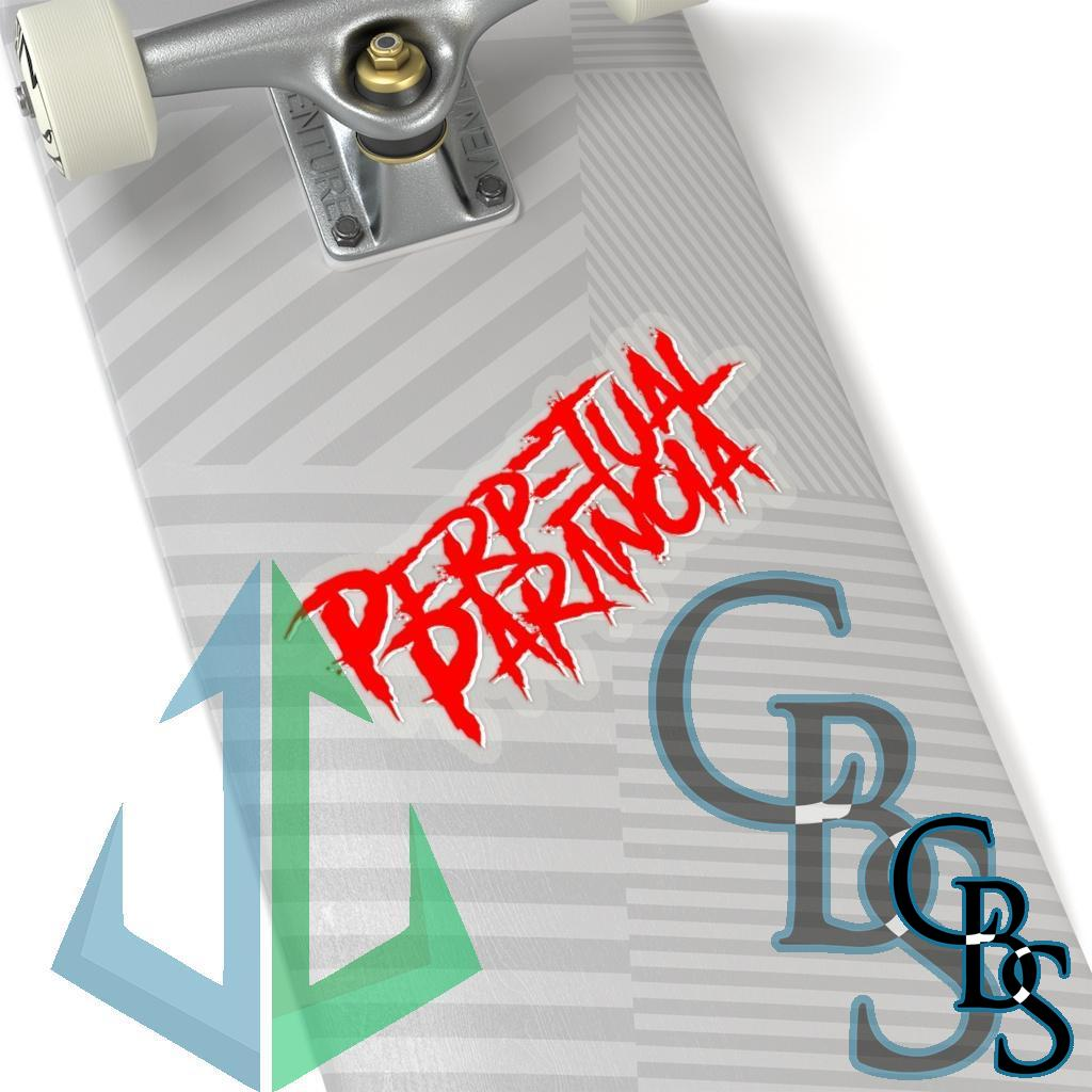Perpetual Paranoia Logo Red White Die Cut Stickers