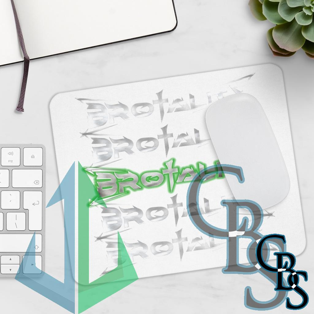 Brotality Stacked Logos White Mouse Pad