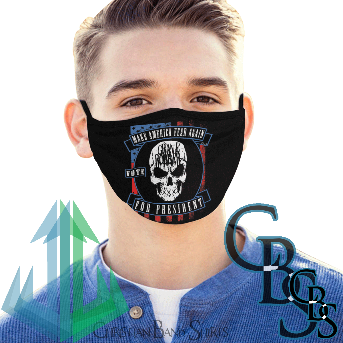 Grave Robber Make America Fear Again Mouth Mask