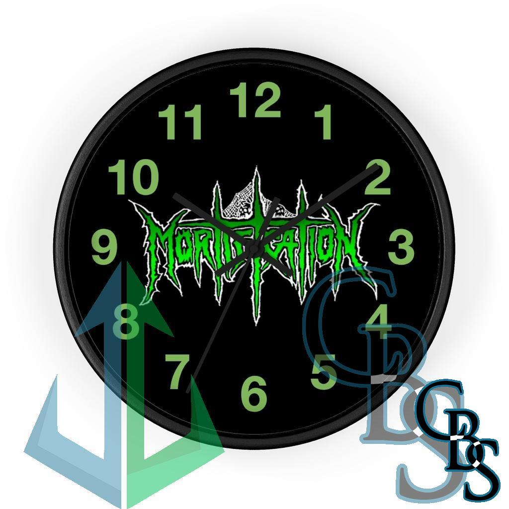 Mortification Logo Green and White Wall clock