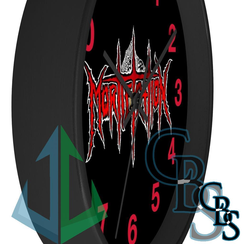 Mortification Logo Red and White Wall clock