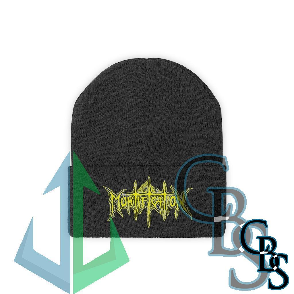 Mortification Yellow and Blue Logo Knit Beanie