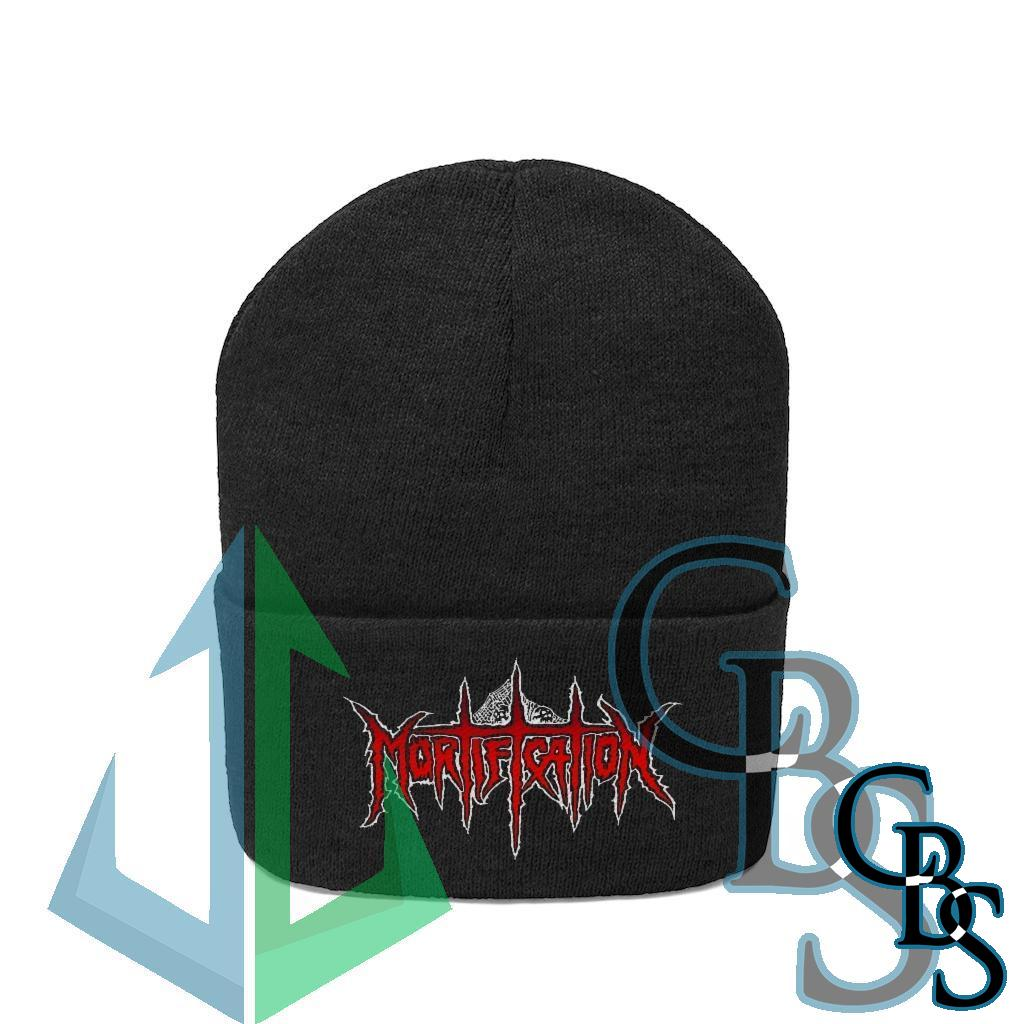 Mortification Red and White Logo Knit Beanie