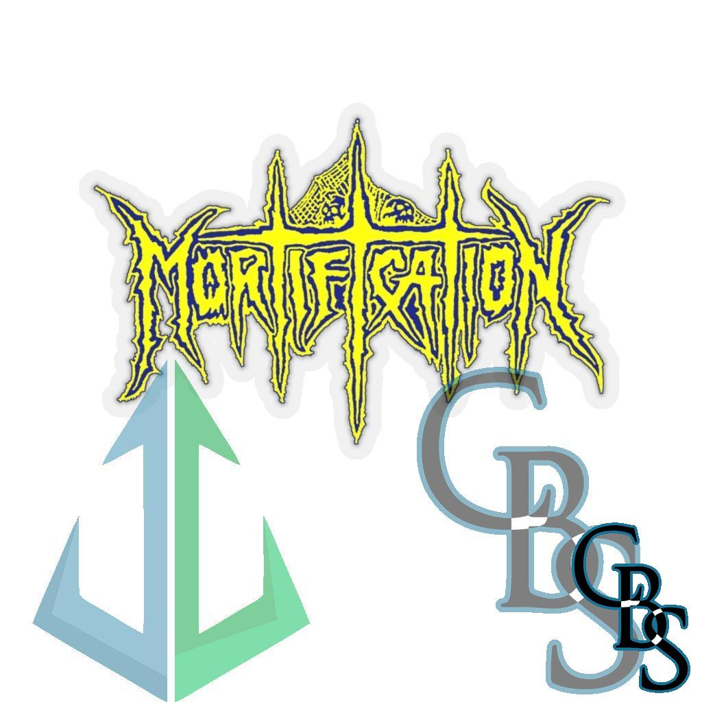 Mortification Yellow Logo Die Cut Stickers