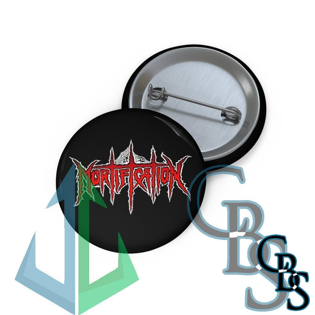 Mortification Logo Red and White Basic Pin Buttons