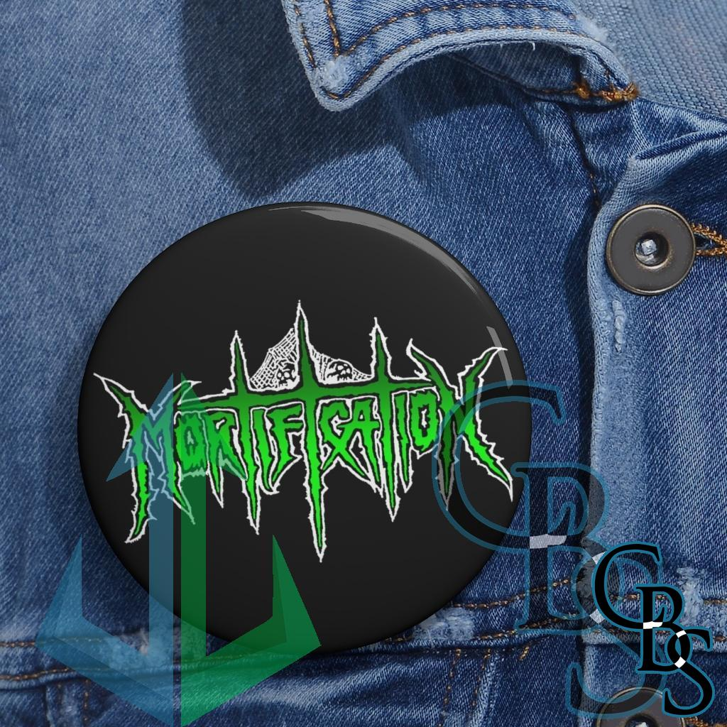 Mortification Logo Green and White Basic Pin Buttons