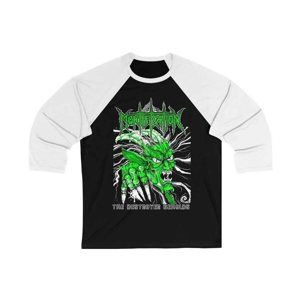 Mortification The Destroyer Beholds Green 3/4 Sleeve Baseball Tee