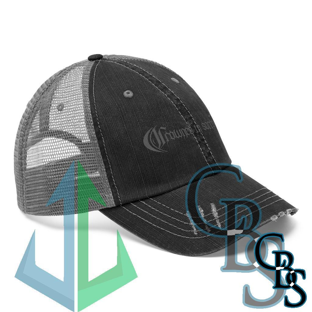 Crowned in Sorrow Grey Logo Embroidered Trucker Hat