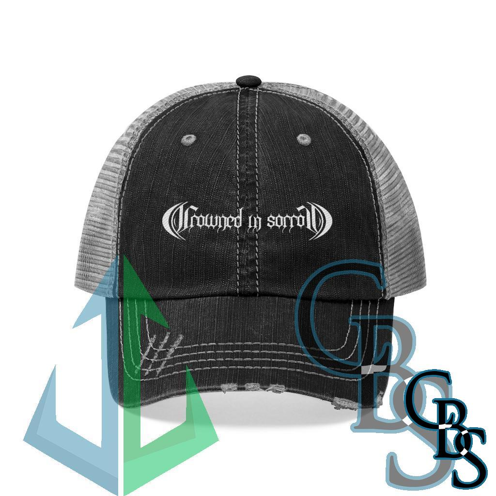 Crowned in Sorrow White Logo Embroidered Trucker Hat