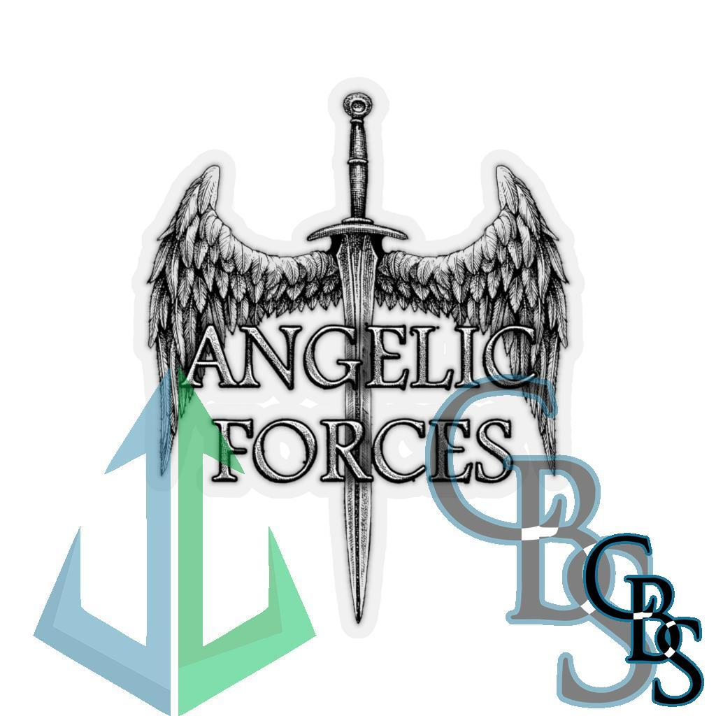 Angelic Forces Sword and Wing Die Cut Stickers