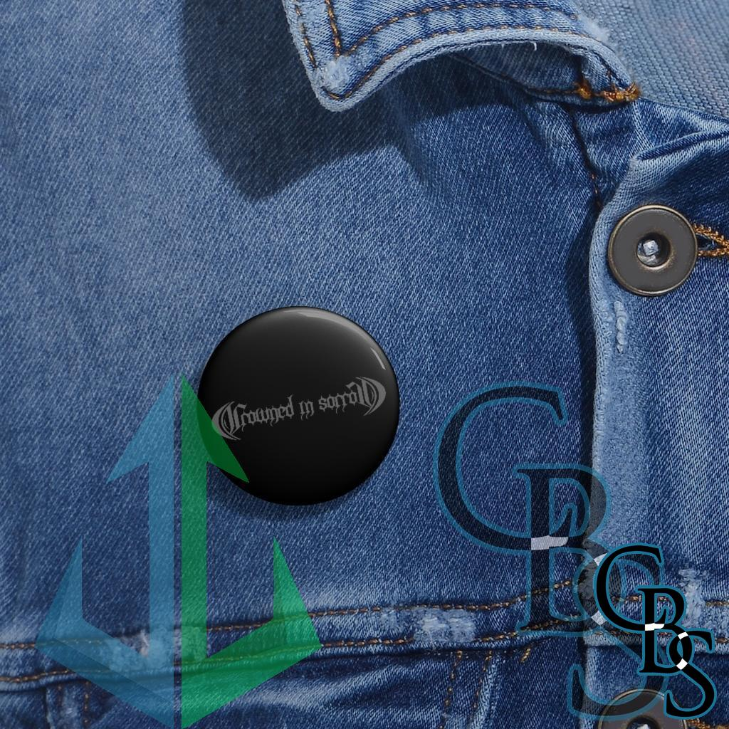 Crowned in Sorrow Grey Logo Pin Buttons