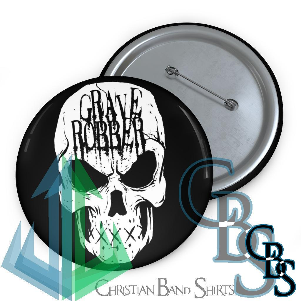 Grave Robber Skull Pin Buttons