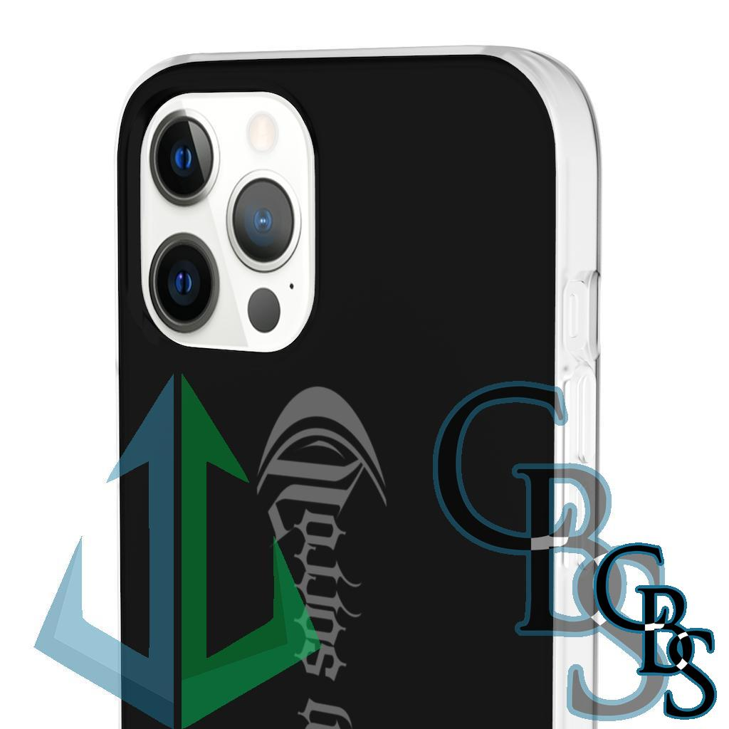 Crowned In Sorrow Grey Logo Clear Edge TPU Cases for iPhone 7 through iPhone 12, Samsung Galaxy S10