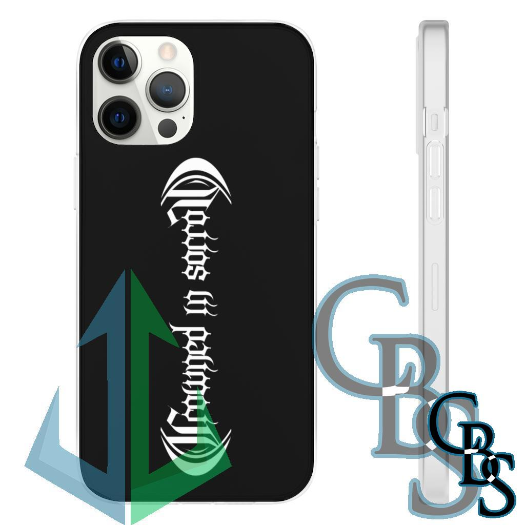 Crowned In Sorrow White Logo Clear Edge TPU Cases for iPhone 7 through iPhone 12, Samsung Galaxy S10