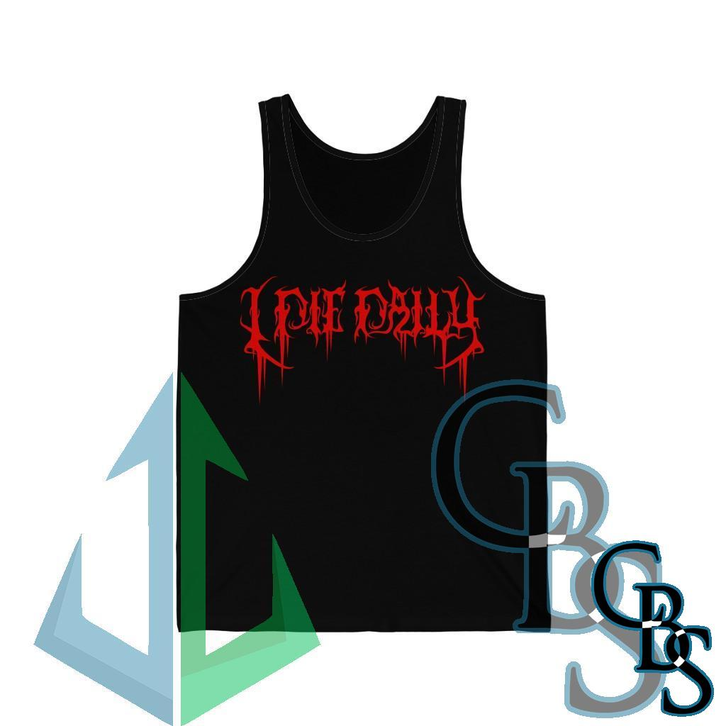 I Die Daily Red Logo Unisex Jersey Tank Top