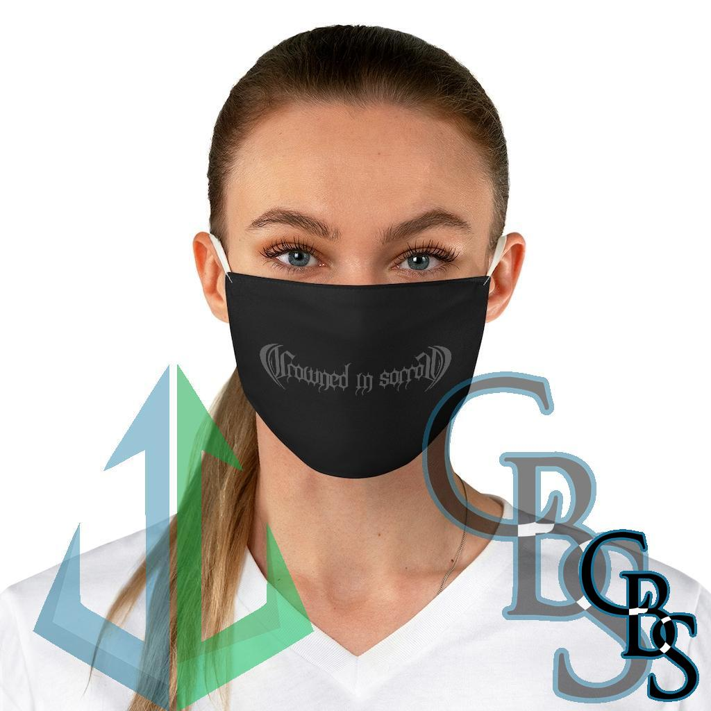 Crowned in Sorrow Grey Logo Fabric Face Mask