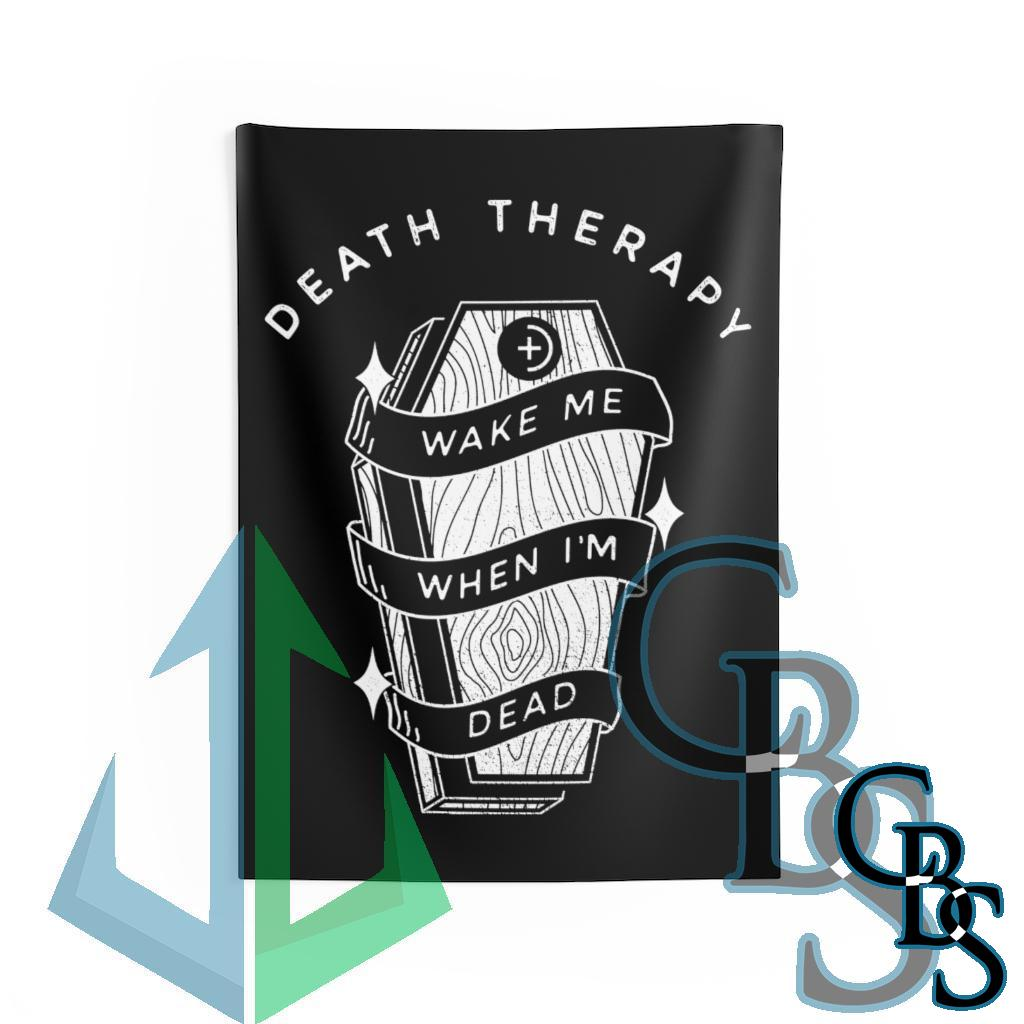 Death Therapy – Wake Me When I'm Dead Indoor Wall Tapestries