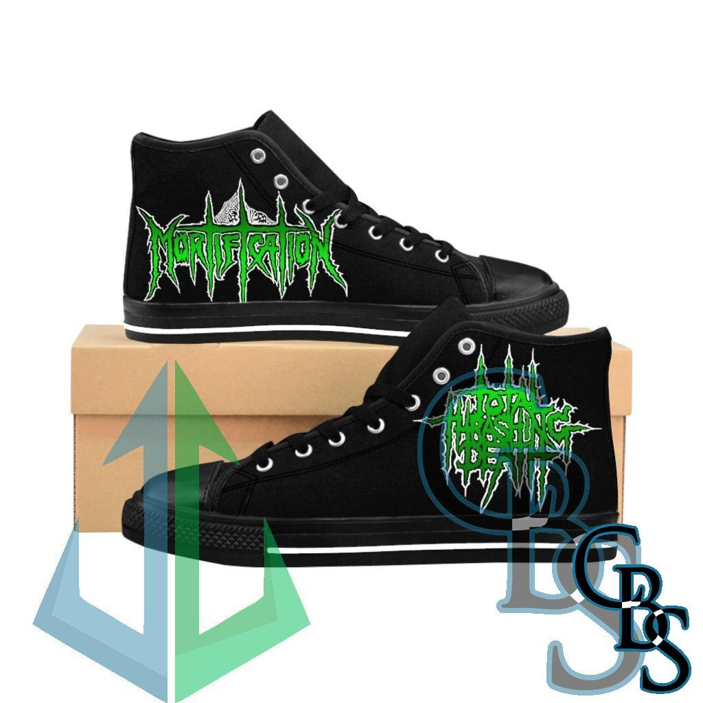 Mortification Total Thrashing Death (Green) Men's High-top Sneakers