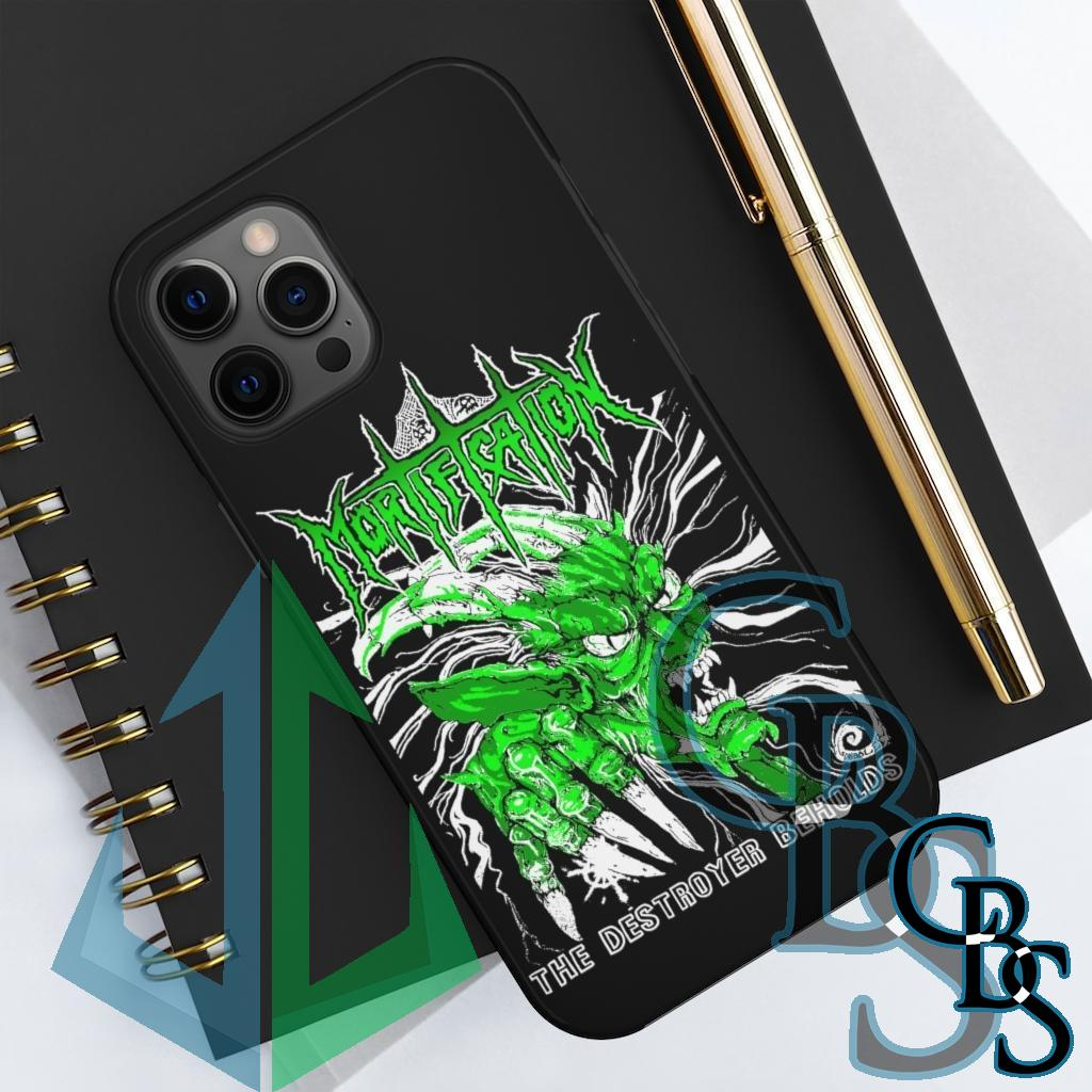 Mortification The Destroyer Beholds (Green) iPhone Cases (iPhone X-12 Pro Max – 11 phone sizes)