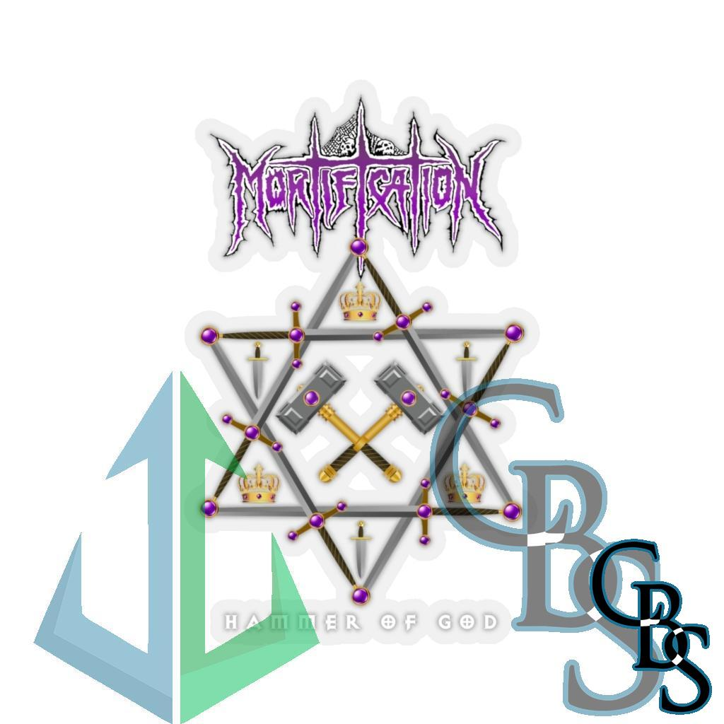 Mortification – Hammer of God Die Cut Stickers