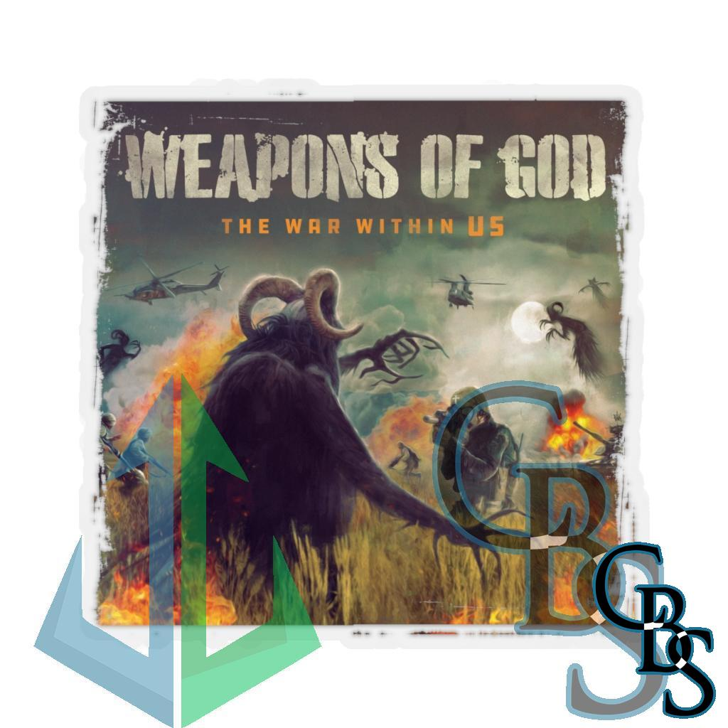 Weapons of God – The War Within Us Black Logo Die Cut Stickers