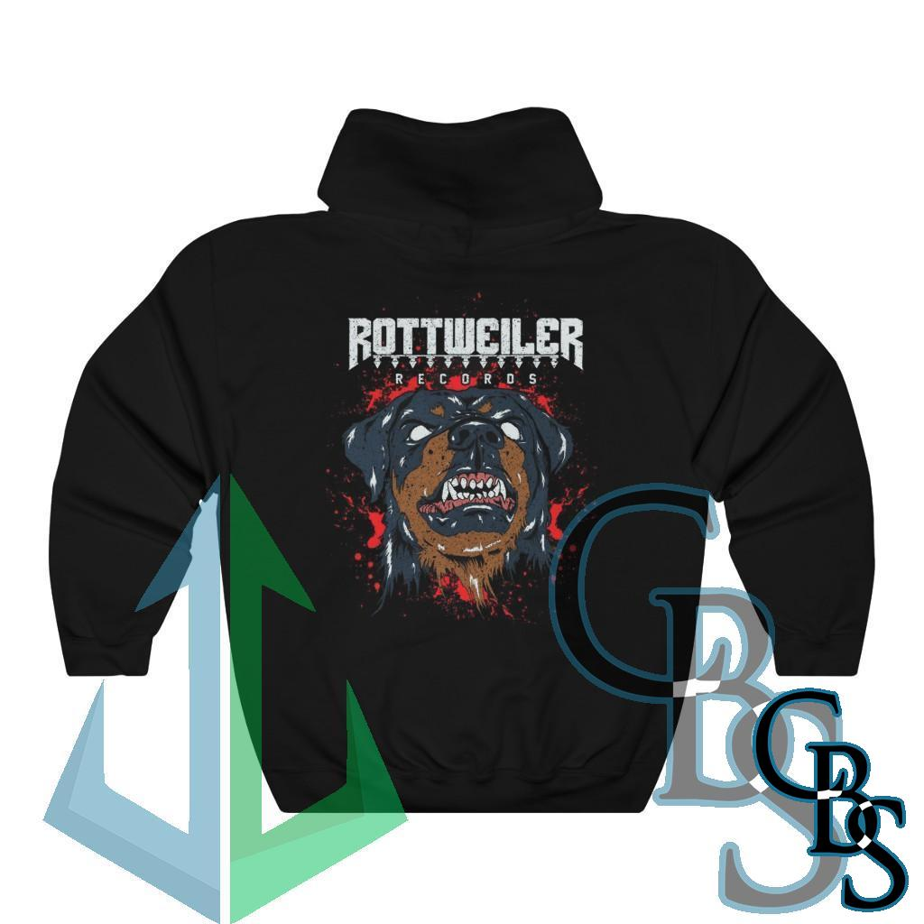 Rottweiler Records Dog and Logo Pullover Hooded Sweatshirt (18500D)